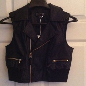 Jackets & Blazers - Black motorcycle vest with gold zippers