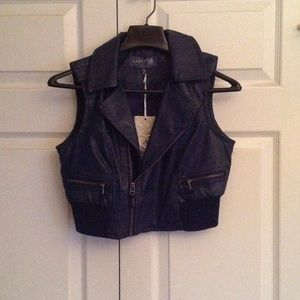 Jackets & Blazers - Navy motorcycle vest with antique silver zippers