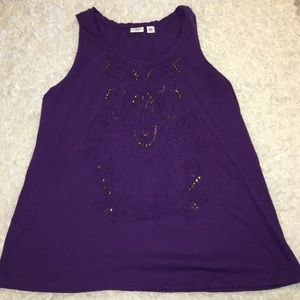 Cato Tops - 18/20 Cato tank top with sequins and stone detail