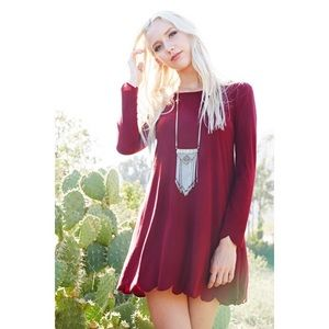 Burgundy Scalloped Hem Dress
