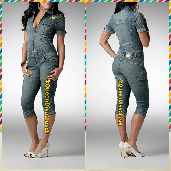 5bbdd5744be5 Dereon Pants - Denim Jean cropped Capri jumpsuit romper playsuit