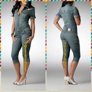 Dereon Pants - Denim Jean cropped Capri jumpsuit romper playsuit