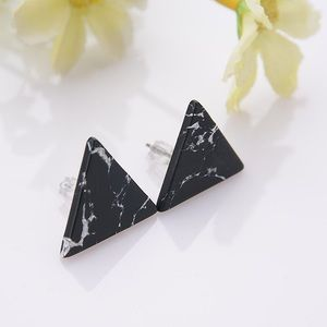 Black Triangle Marble Stone Earrings
