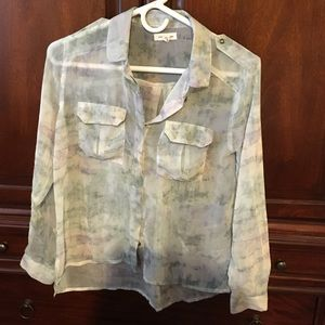 UO sheer watercolor blouse