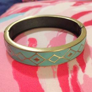 Teal and Gold Bangle Bracelet