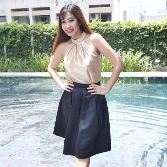 e24e413b9848f Duchess Satin midi skirt (Black). Boutique