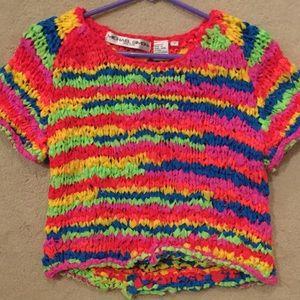 Neon Rainbow Mesh Crop Top