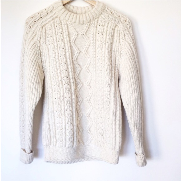 Madewell Sweaters - Hand knit wool fisherman sweater made in UK 25822a883