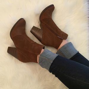 Shoes - Chestnut Suede Heeled Ankle Boots