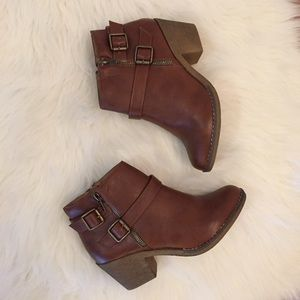 Boutique Shoes - Cognac Distressed Buckle Ankle Boots