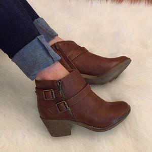 Boutique Shoes - Cognac Distressed Buckle Ankle Boots