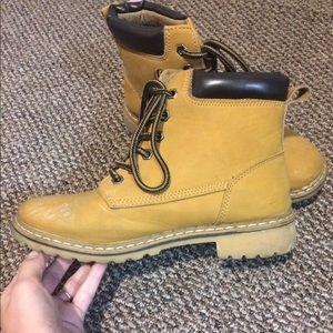 Mustard Yellow Combat Booties