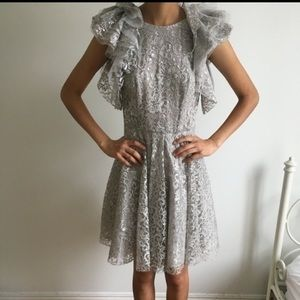 BCBG Silver Sparkly Lace Dress!