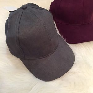 Accessories - Grey Suede Baseball Cap