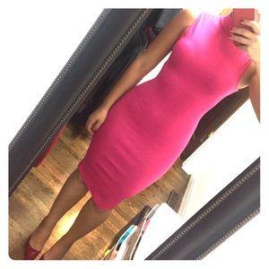 Pink midi turtleneck dress