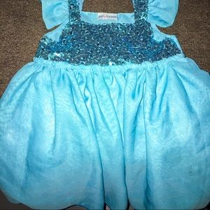 Just Couture Dresses - Blue Sparkle Flutter Sleeve Party Dress
