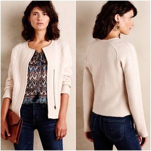 Anthropologie Knitted & Knotted Cableknit Blazer