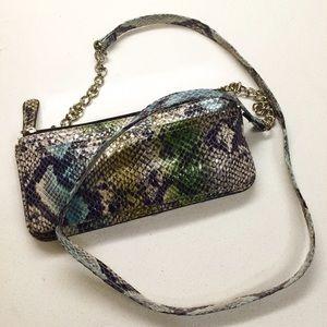 Faux Snake Python Print Wallet Crossbody Bag
