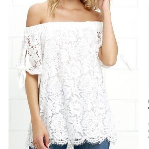 Lulus white off the shoulder lace top