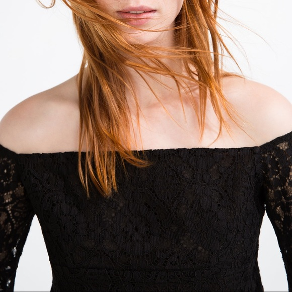 d79a0dd21e072a Guipure lace off shoulder lace top