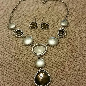 nOir Jewelry Jewelry - NWOT Silver Necklace with tone accents and earring