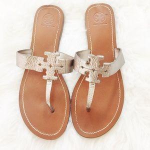 Tory Burch Shoes - Tory Burch Logo Metallic Sandals in Silver