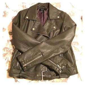 Olive Faux Leather Jacket