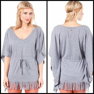 QUICKSILVER Women Fringe Shirt Poncho