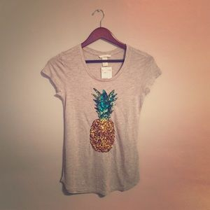 Tops - H&M Sequin Pineapple Fitted Tshirt with Tags
