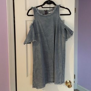 Dresses & Skirts - Awesome denim shift dress with cold shoulder M