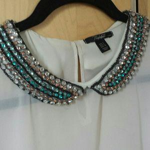 ZARA Tralafuc collar sheer blouse top
