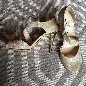 Nina Shoes - Gold Asymmetrical Peep Toe Heels - Size 6 1/2