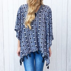 Tops - LAST ITEM black and white poncho