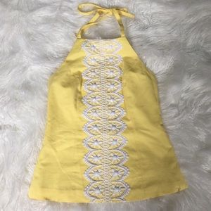 Lilly Pulitzer yellow embroidered bead top sz 6
