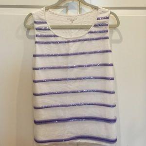 Pretty, dressy, purple and cream glittery tank.