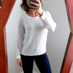 INC International Concepts Sweaters - NWOT Amazing Silver Sequin Sheer Sleeve Sweater