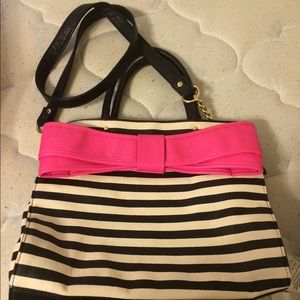 Betsy Johnson pink bow black and white bag