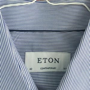 Eton Other - Classic thin blue stripe but town down. ETON.