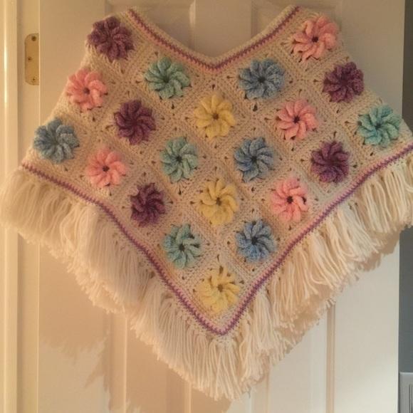 Girls Two-Colored Handmade Crochet Poncho