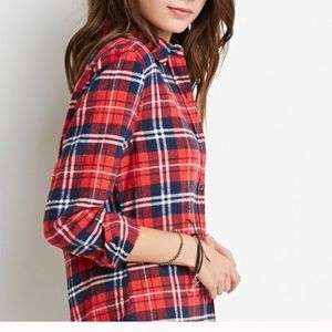 Boutique Tops - NWT Trendy Red Plaid Flannel Shirt S M