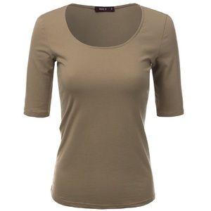 Doublju Tops - Basic Beige 3/4 Sleeve Shirt XL/1X