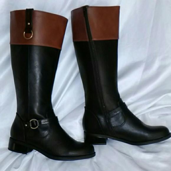 Black Tan Solanz Gwen Riding Boots 7m