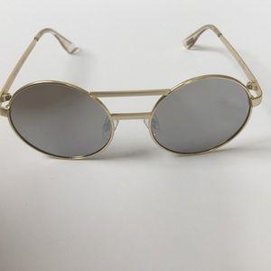 Le Specs Vertigo Gold Round Sunglasses