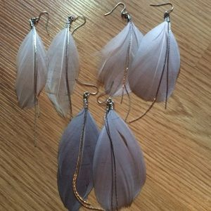 3 sets of feather earrings