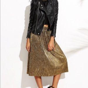 Metallic sheen midi accordion skirt