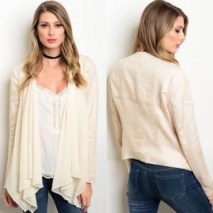 Boutique Jackets & Blazers - Cream Long Sleeve Linen & Chiffon Draped Jacket