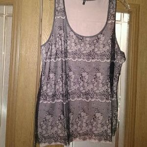 Lace Overlay Tank Top, NWOT