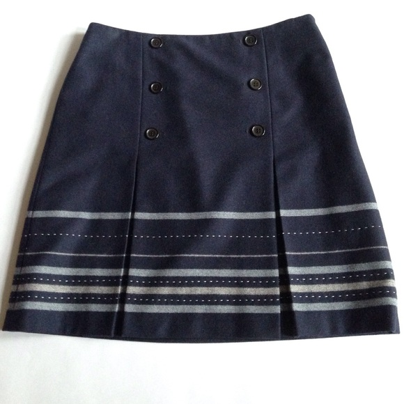 loft navy blue button pleated a line wool striped skirt