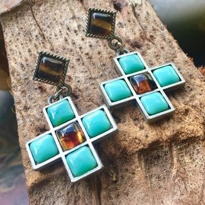 Jewelry - Rustic turquoise and brown cross earrings