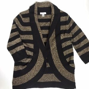 Christopher&Banks Black and Tan Striped Cardigan
